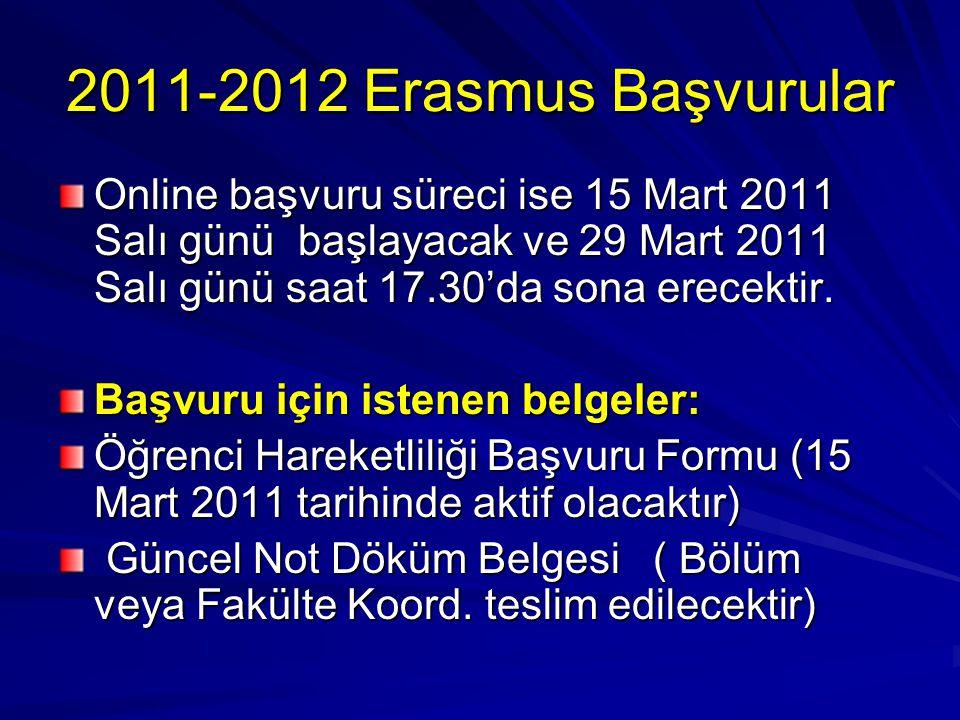2011-2012 Erasmus Başvurular Online başvuru süreci ise 15 Mart 2011 Salı günü başlayacak ve 29 Mart 2011 Salı günü saat 17.30'da sona erecektir. Başvu