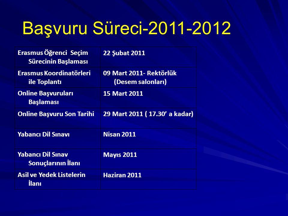 Erasmus Öğrenci Seçim Sürecinin Başlaması 22 Şubat 2011 Erasmus Koordinatörleri ile Toplantı 09 Mart 2011- Rektörlük (Desem salonları) Online Başvuruları Başlaması 15 Mart 2011 Online Başvuru Son Tarihi29 Mart 2011 ( 17.30' a kadar) Yabancı Dil SınavıNisan 2011 Yabancı Dil Sınav Sonuçlarının İlanı Mayıs 2011 Asil ve Yedek Listelerin İlanı Haziran 2011 Başvuru Süreci-2011-2012