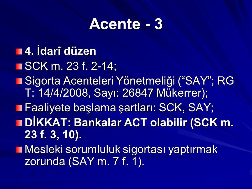 Acente - 3 4.İdarî düzen SCK m. 23 f.
