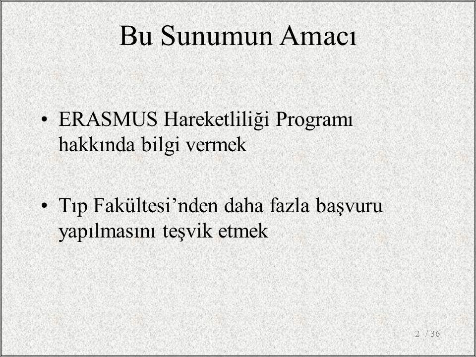 Bu Sunumun Amacı ERASMUS Hareketliliği Programı hakkında bilgi vermek Tıp Fakültesi'nden daha fazla başvuru yapılmasını teşvik etmek / 362
