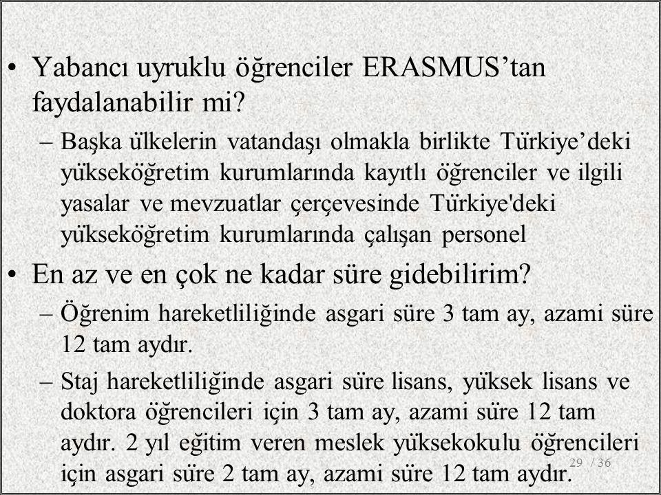 Yabancı uyruklu öğrenciler ERASMUS'tan faydalanabilir mi.