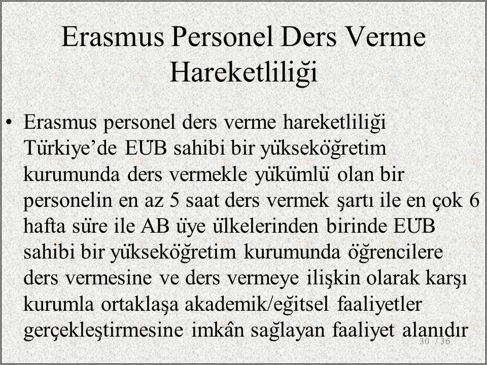 Erasmus Personel Ders Verme Hareketlilig ̆ i Erasmus personel ders verme hareketlilig ̆ i Tu ̈ rkiye'de EU ̈ B sahibi bir yu ̈ kseko ̈ g ̆ retim kurumunda ders vermekle yu ̈ ku ̈ mlu ̈ olan bir personelin en az 5 saat ders vermek s ̧ artı ile en c ̧ ok 6 hafta su ̈ re ile AB u ̈ ye u ̈ lkelerinden birinde EU ̈ B sahibi bir yu ̈ kseko ̈ g ̆ retim kurumunda o ̈ g ̆ rencilere ders vermesine ve ders vermeye ilis ̧ kin olarak kars ̧ ı kurumla ortaklas ̧ a akademik/eg ̆ itsel faaliyetler gerc ̧ ekles ̧ tirmesine imka ̂ n sag ̆ layan faaliyet alanıdır / 3630