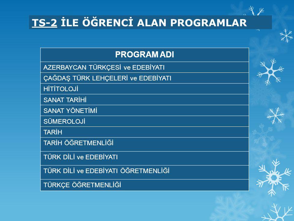 TS-2 İLE ÖĞRENCİ ALAN PROGRAMLAR PROGRAM ADI AZERBAYCAN TÜRKÇESİ ve EDEBİYATI ÇAĞDAŞ TÜRK LEHÇELERİ ve EDEBİYATI HİTİTOLOJİ SANAT TARİHİ SANAT YÖNETİM
