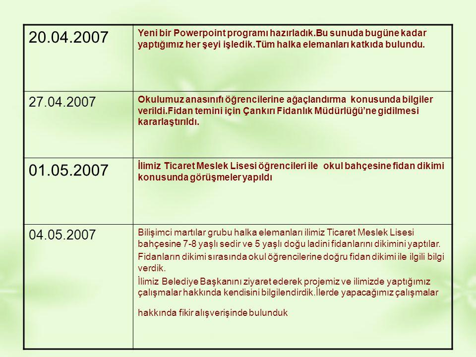 20.04.2007 Yeni bir Powerpoint programı hazırladık.Bu sunuda bugüne kadar yaptığımız her şeyi işledik.Tüm halka elemanları katkıda bulundu. 27.04.2007
