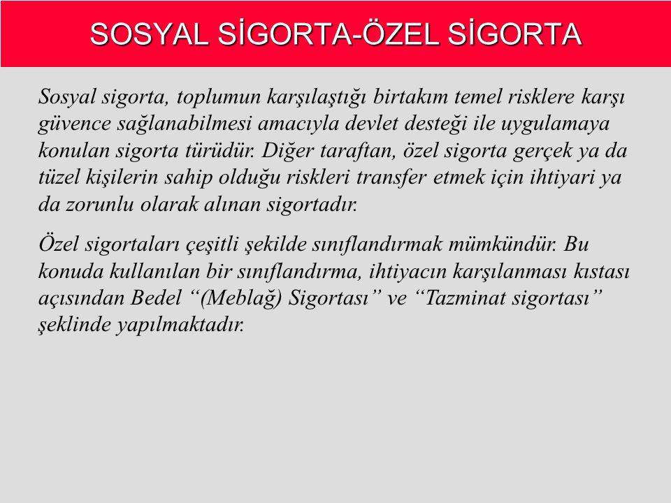 SOSYAL SİGORTA-ÖZEL SİGORTA Sosyal sigorta, toplumun karşılaştığı birtakım temel risklere karşı güvence sağlanabilmesi amacıyla devlet desteği ile uyg