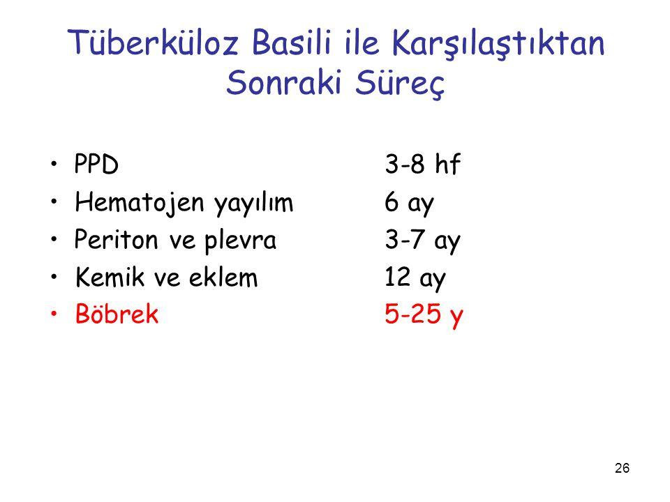 26 Tüberküloz Basili ile Karşılaştıktan Sonraki Süreç PPD3-8 hf Hematojen yayılım 6 ay Periton ve plevra 3-7 ay Kemik ve eklem 12 ay Böbrek5-25 y