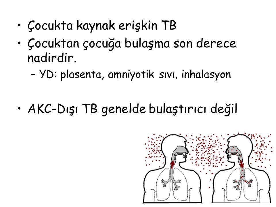 29 Çocukta kaynak erişkin TB Çocuktan çocuğa bulaşma son derece nadirdir. –YD: plasenta, amniyotik sıvı, inhalasyon AKC-Dışı TB genelde bulaştırıcı de