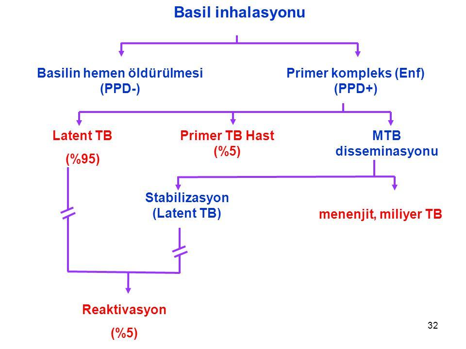 32 Basil inhalasyonu Basilin hemen öldürülmesi (PPD-) Primer kompleks (Enf) (PPD+) Latent TB (%95) Primer TB Hast (%5) MTB disseminasyonu Stabilizasyon (Latent TB) Reaktivasyon (%5) menenjit, miliyer TB