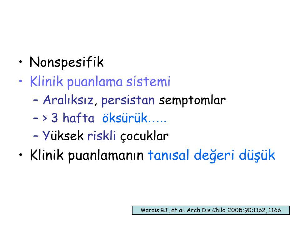 38 Nonspesifik Klinik puanlama sistemi –Aralıksız, persistan semptomlar –> 3 hafta öksürük …..