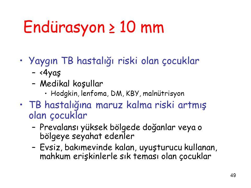 49 Endürasyon ≥ 10 mm Yaygın TB hastalığı riski olan çocuklar –<4yaş –Medikal koşullar Hodgkin, lenfoma, DM, KBY, malnütrisyon TB hastalığına maruz ka