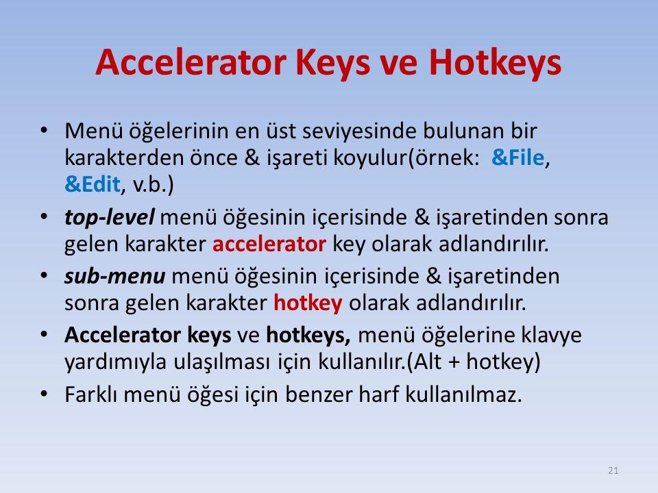 Accelerator Keys ve Hotkeys Menü öğelerinin en üst seviyesinde bulunan bir karakterden önce & işareti koyulur(örnek: &File, &Edit, v.b.) top-level men