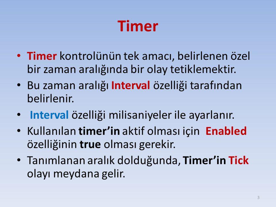 Timer Timer kontrolünün tek amacı, belirlenen özel bir zaman aralığında bir olay tetiklemektir. Bu zaman aralığı Interval özelliği tarafından belirlen