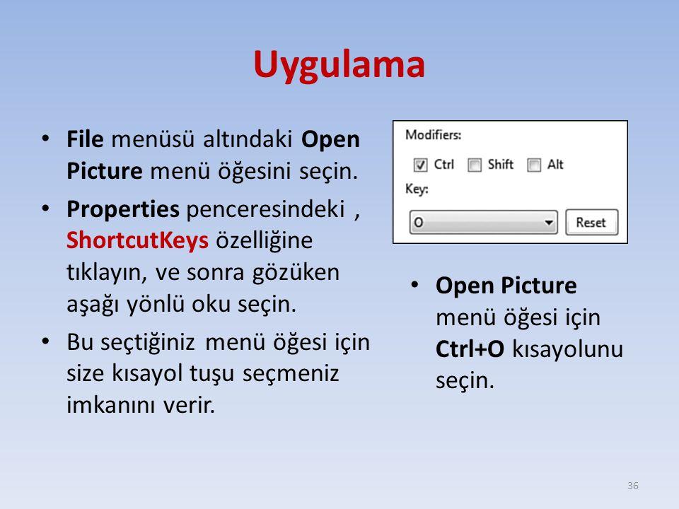 Uygulama File menüsü altındaki Open Picture menü öğesini seçin. Properties penceresindeki, ShortcutKeys özelliğine tıklayın, ve sonra gözüken aşağı yö