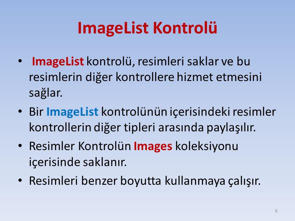 ImageList Kontrolü ImageList kontrolü, resimleri saklar ve bu resimlerin diğer kontrollere hizmet etmesini sağlar. Bir ImageList kontrolünün içerisind