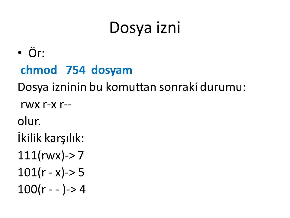 Dosya izni Ör: chmod 754 dosyam Dosya izninin bu komuttan sonraki durumu: rwx r-x r-- olur.
