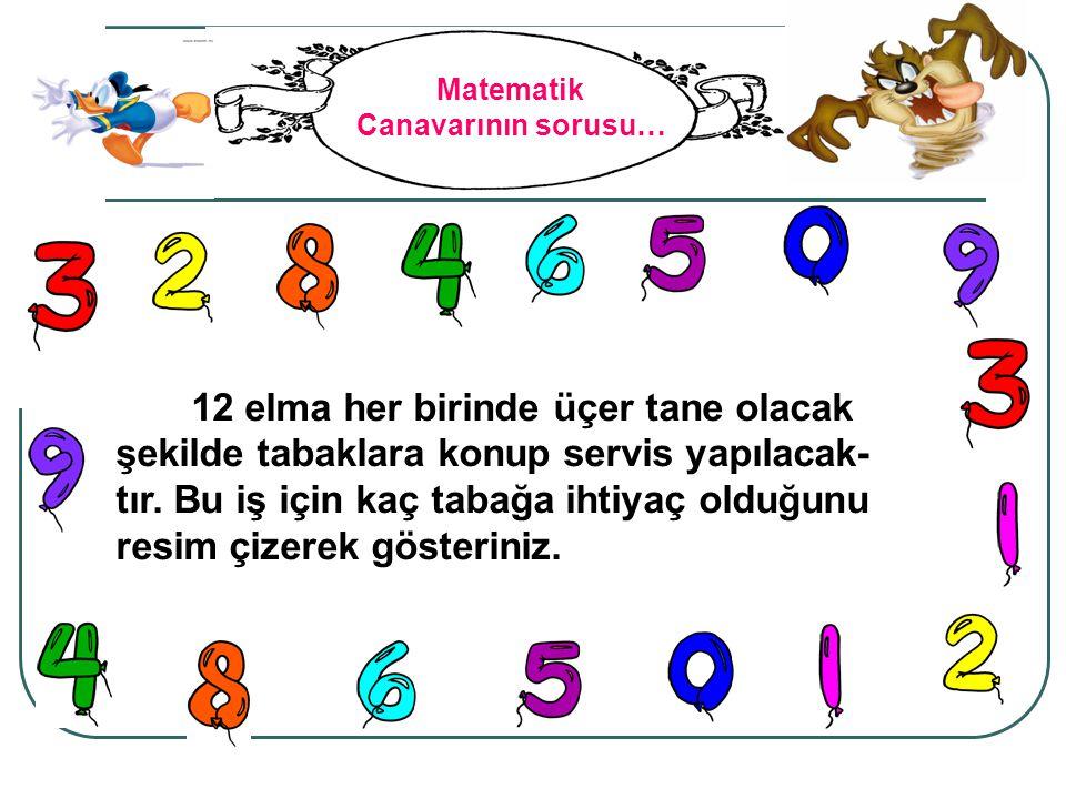 Matematik Canavarının sorusu… 12 elma her birinde üçer tane olacak şekilde tabaklara konup servis yapılacak- tır. Bu iş için kaç tabağa ihtiyaç olduğu