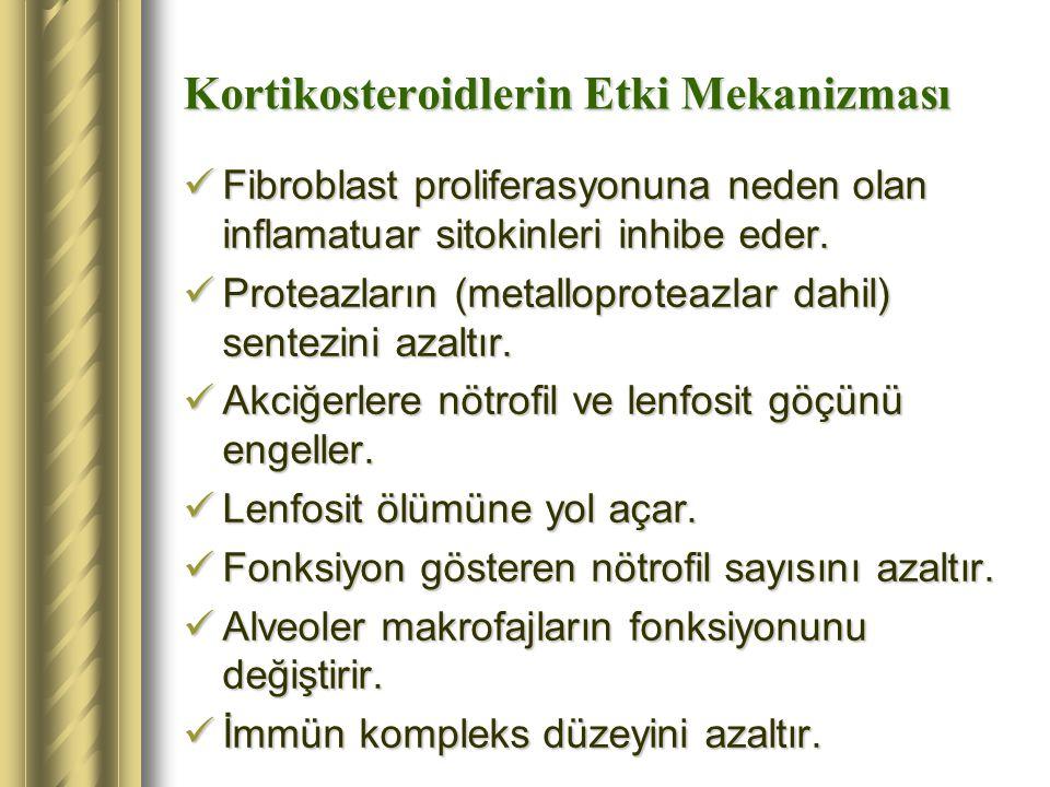 Kortikosteroidlerin Etki Mekanizması Fibroblast proliferasyonuna neden olan inflamatuar sitokinleri inhibe eder. Fibroblast proliferasyonuna neden ola