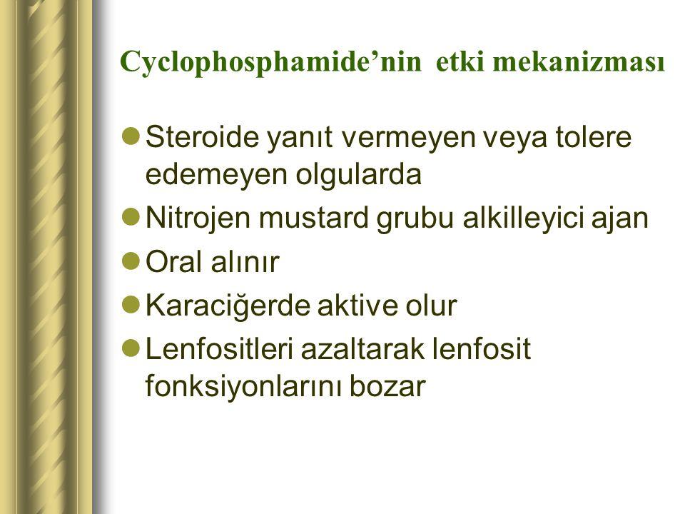 Cyclophosphamide'nin etki mekanizması Steroide yanıt vermeyen veya tolere edemeyen olgularda Nitrojen mustard grubu alkilleyici ajan Oral alınır Karac