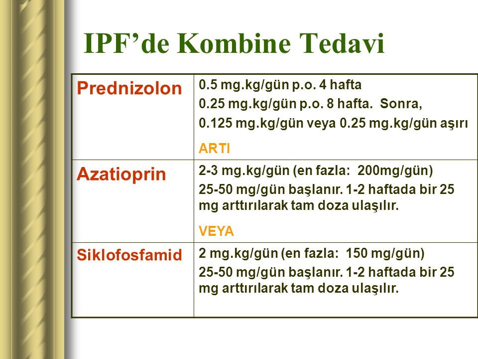 IPF'de Kombine Tedavi Prednizolon 0.5 mg.kg/gün p.o. 4 hafta 0.25 mg.kg/gün p.o. 8 hafta. Sonra, 0.125 mg.kg/gün veya 0.25 mg.kg/gün aşırı ARTI Azatio