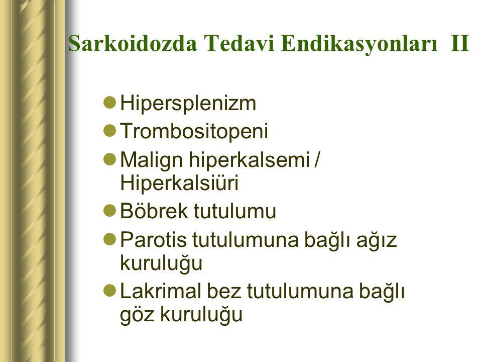 Sarkoidozda Tedavi Endikasyonları II Hipersplenizm Trombositopeni Malign hiperkalsemi / Hiperkalsiüri Böbrek tutulumu Parotis tutulumuna bağlı ağız ku