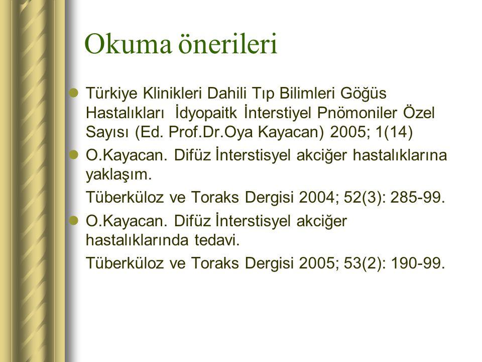 Okuma önerileri Türkiye Klinikleri Dahili Tıp Bilimleri Göğüs Hastalıkları İdyopaitk İnterstiyel Pnömoniler Özel Sayısı (Ed. Prof.Dr.Oya Kayacan) 2005