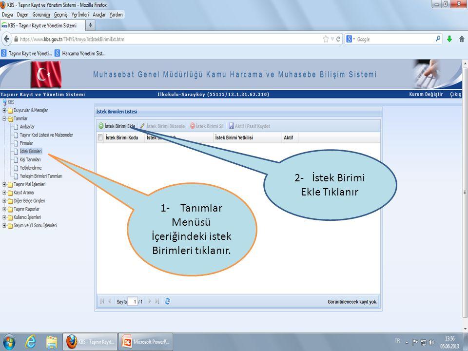 1-TİB Detay göster sekmesine tıklanırsa Taşınır İstek Belgesi Detayı çizelge şeklinde açılır.