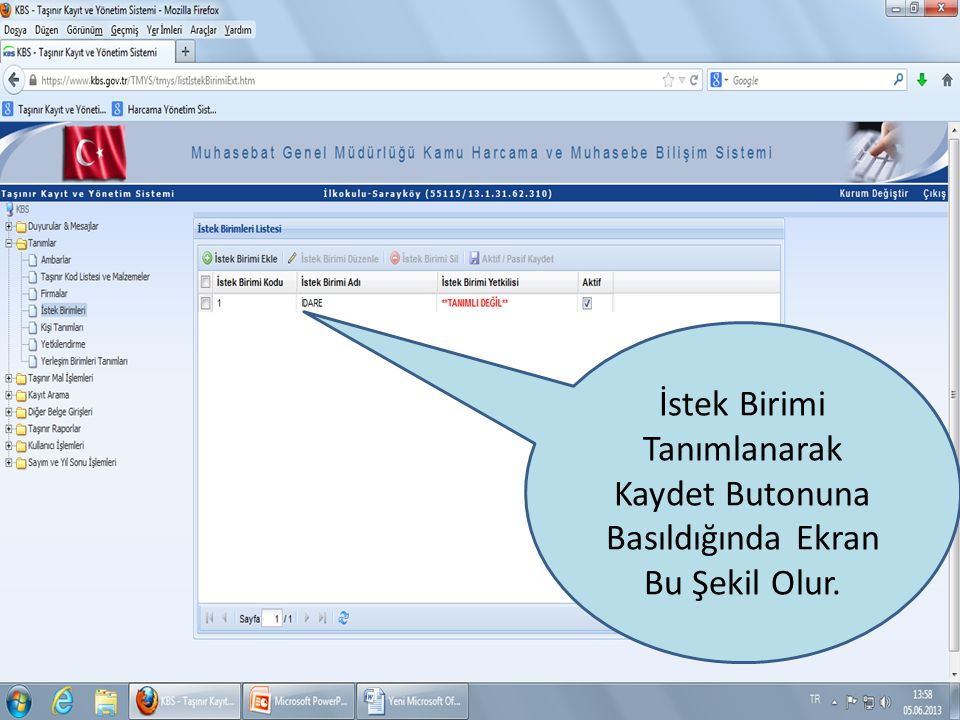  Taşınır İstek Belgesi Listesi sekmesi tıklandığında ekran bu şekilde görülür Rapor tıklandığında aşağıdaki şekilde TİB gözükür.