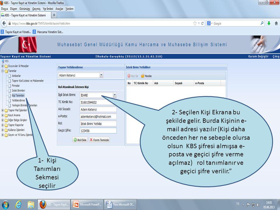 1- Kişi Tanımları Sekmesi seçilir 2- Seçilen Kişi Ekrana bu şekilde gelir. Burda Kişinin e- mail adresi yazılır (Kişi daha önceden her ne sebeple olur