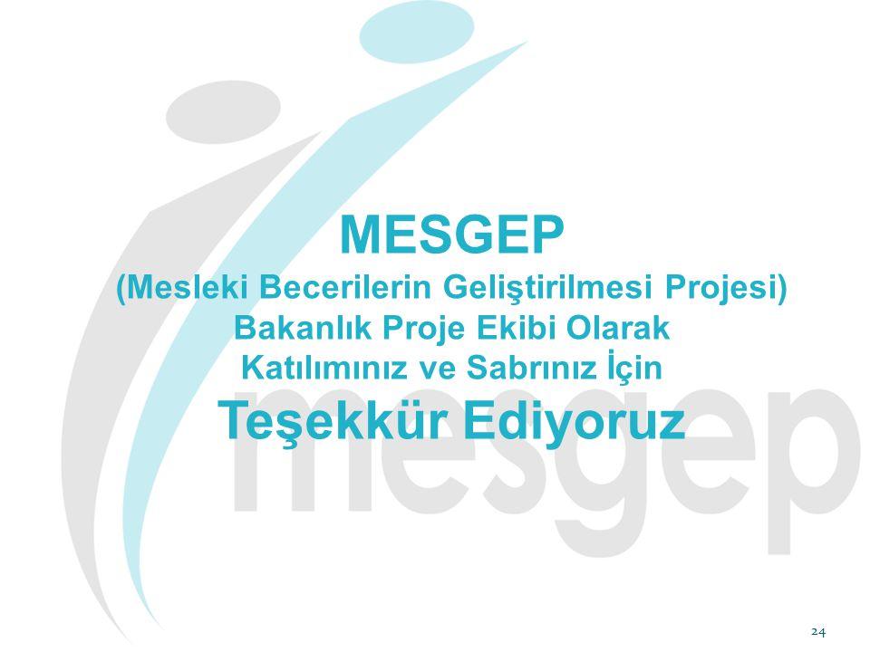 24 MESGEP (Mesleki Becerilerin Geliştirilmesi Projesi) Bakanlık Proje Ekibi Olarak Katılımınız ve Sabrınız İçin Teşekkür Ediyoruz