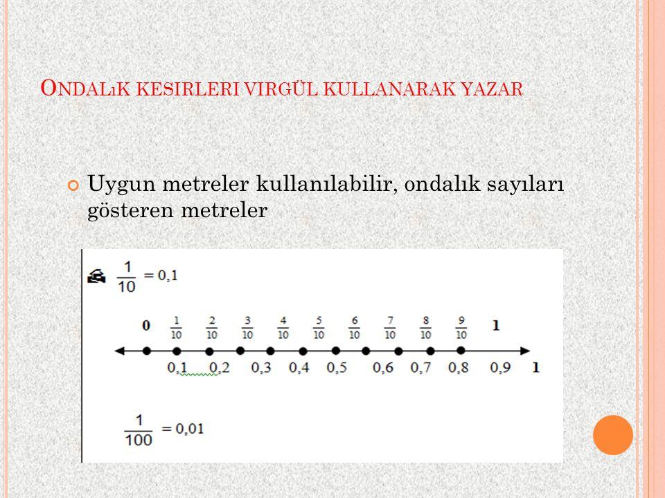 O NDALıK KESIRLERI VIRGÜL KULLANARAK YAZAR Uygun metreler kullanılabilir, ondalık sayıları gösteren metreler