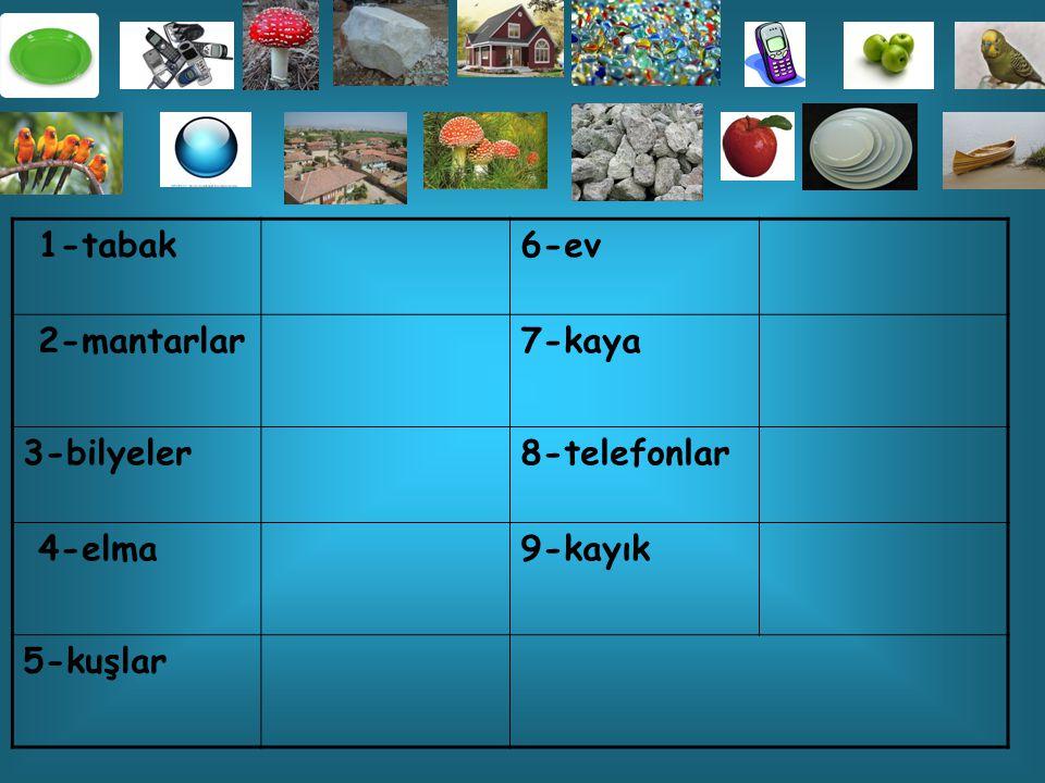 1-tebeşir6-eldiven 2-kalemler7-karpuzlar 3-araba8-ayakkabı 4-masalar9-bardaklar 5-kutular