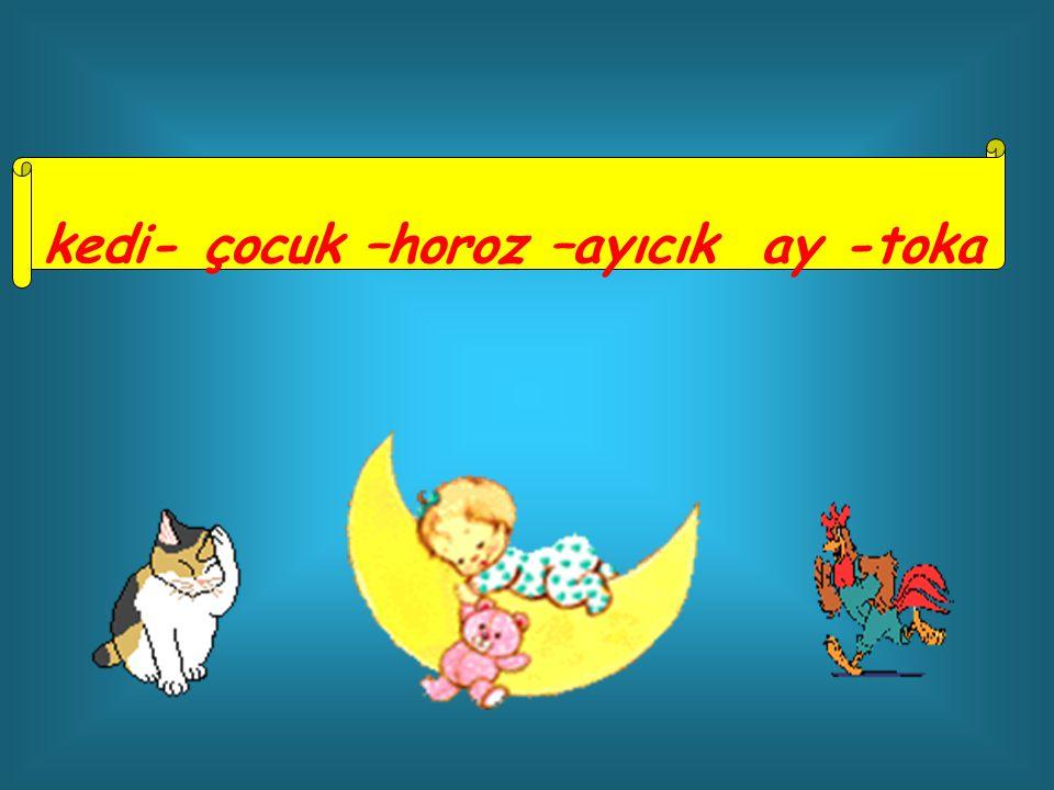kedi- çocuk –horoz –ayıcık ay -toka
