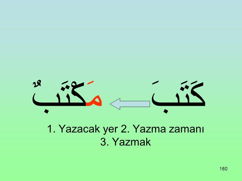 159 مَفْعَلَةٌ مَفْعِلَةٌ Sonunda kapalı te harfi de bulunabilir