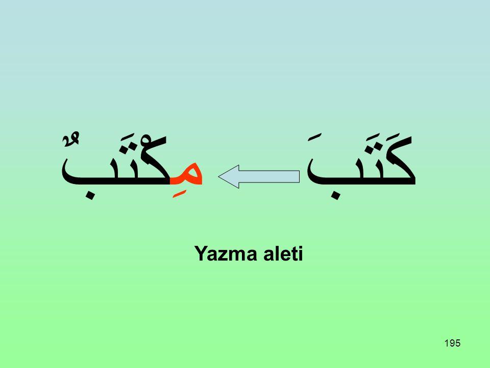194 Üç harfli bir fiil aşağıdaki vezne uydurulursa Alet ismi bildirir: مِفْعَلٌ مِفْعَالٌ
