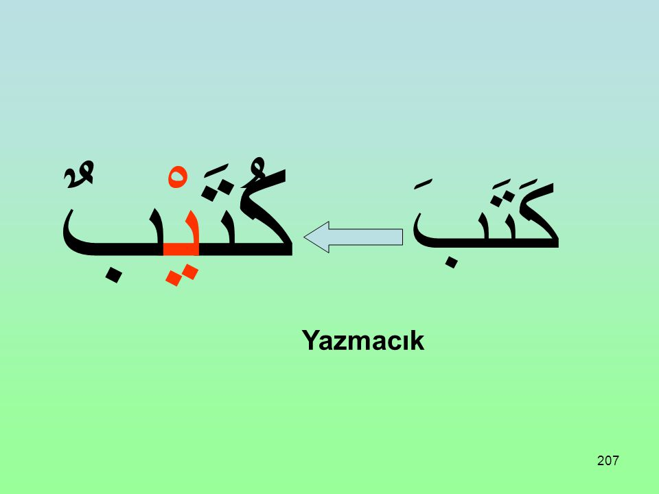 206 Üç harfli bir fiil aşağıdaki vezne uydurulursa Küçültme ismi (İsmi Tasğir) olur: فُعَيْلٌ
