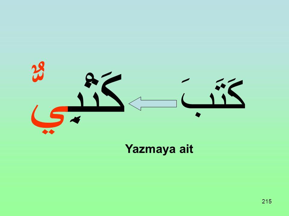214 Üç harfli bir fiil aşağıdaki vezne uydurulursa İsmi Mensub bildirir. فَعْلِيٌّ