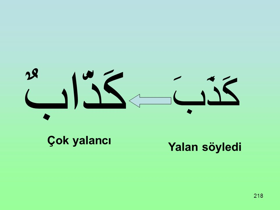217 Üç harfli bir fiil aşağıdaki vezne uydurulursa Mubalağa Siğası olur: فَعَّالٌ