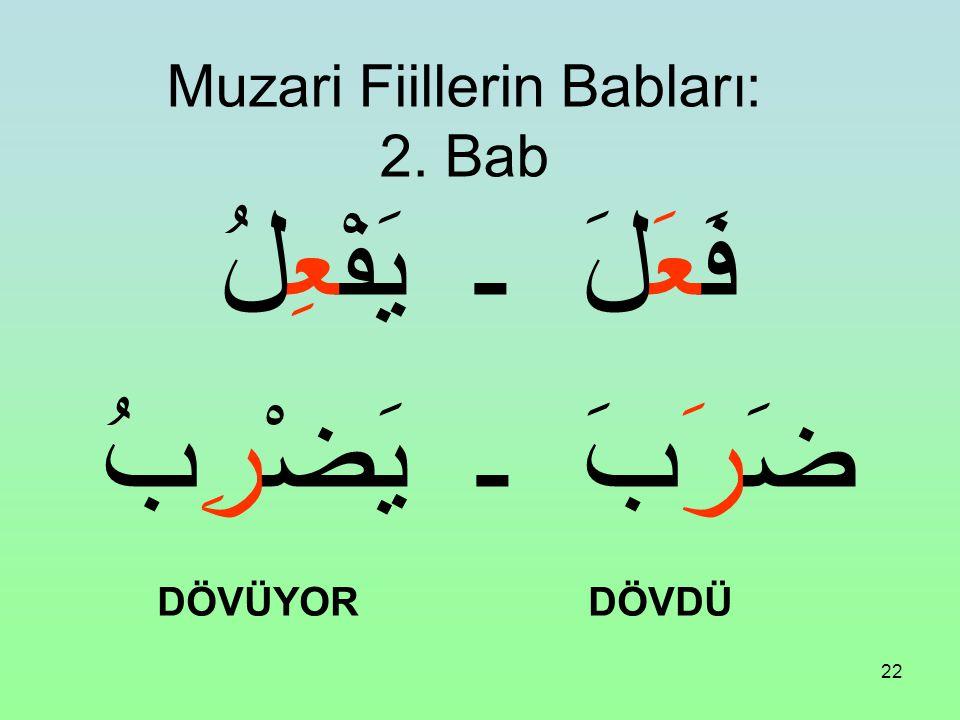 21 Muzari Fiillerin Babları: 1. Bab فَعَلَ ـ يَفْعُلُ كَتَبَ ـ يَكْتُبُ YAZDI YAZIYOR
