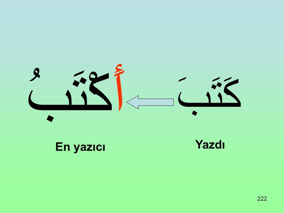 221 Üç harfli bir fiil aşağıdaki vezne uydurulursa İsmi Tafdil (Müzekkerler için) ifade eder: Anlamı: daha, en, pek, çok أَفْعَلُ