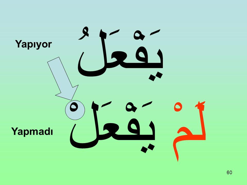 59 Bir Fiili Muzari'nin başına şu edat gelirse: لَمْ 1. Anlamını olumsuz yapar. 2. Anlamını maziye çevirir. 3. Muzari fiilin sonunu cezmeder.