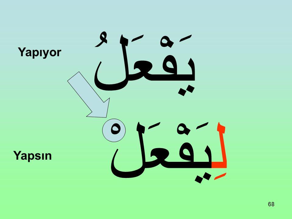67 Bir Fiili Muzari'nin başına şu harf gelirse Emr-i Gâib olur. Yani burada olmayana emir olur. Fiili Muzari'nin sonunu cezmeder. لِ