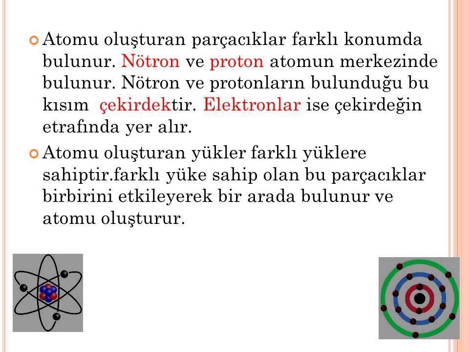 Atomu oluşturan parçacıklar farklı konumda bulunur. Nötron ve proton atomun merkezinde bulunur. Nötron ve protonların bulunduğu bu kısım çekirdektir.