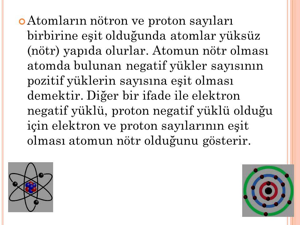 Atomların nötron ve proton sayıları birbirine eşit olduğunda atomlar yüksüz (nötr) yapıda olurlar. Atomun nötr olması atomda bulunan negatif yükler sa