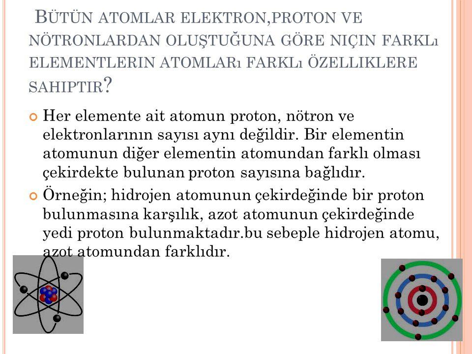 B ÜTÜN ATOMLAR ELEKTRON, PROTON VE NÖTRONLARDAN OLUŞTUĞUNA GÖRE NIÇIN FARKLı ELEMENTLERIN ATOMLARı FARKLı ÖZELLIKLERE SAHIPTIR ? Her elemente ait atom