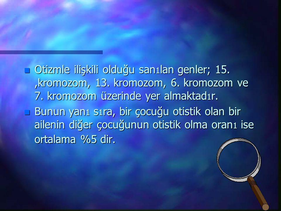 n Otizmle ilişkili olduğu san 1 lan genler; 15.,kromozom, 13.