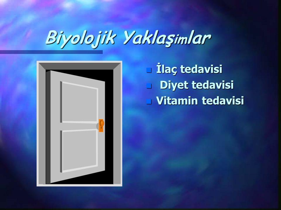 Biyolojik Yaklaş im lar n İlaç tedavisi n Diyet tedavisi n Vitamin tedavisi