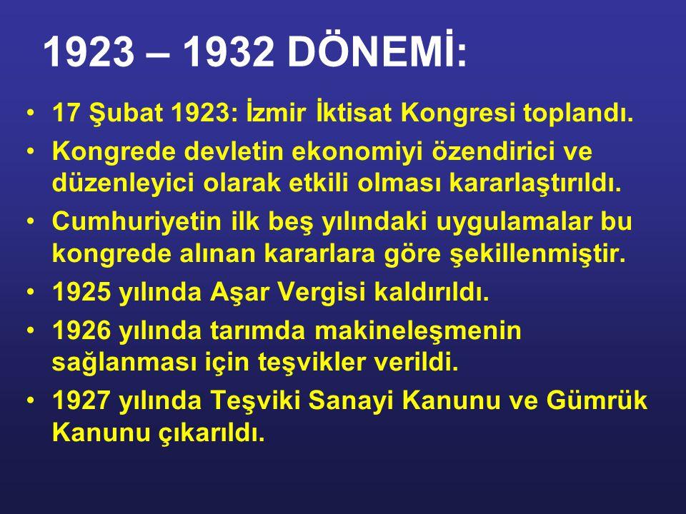 1923 – 1932 DÖNEMİ: SİYASİ ve ASKERİ zaferler ne kadar büyük olurlarsa olsunlar İKTİSADİ zaferlerle taçlandırılmazlarsa sürekli olamazlar, az zamanda