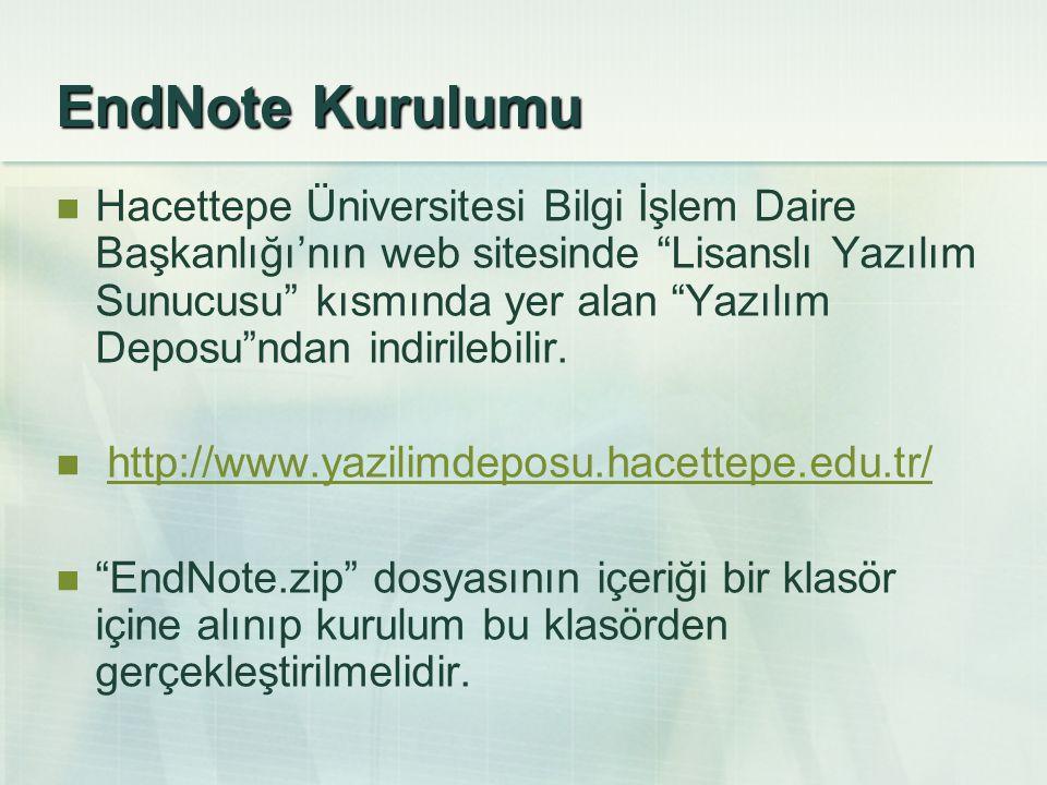 EndNote Kurulumu Hacettepe Üniversitesi Bilgi İşlem Daire Başkanlığı'nın web sitesinde Lisanslı Yazılım Sunucusu kısmında yer alan Yazılım Deposu ndan indirilebilir.