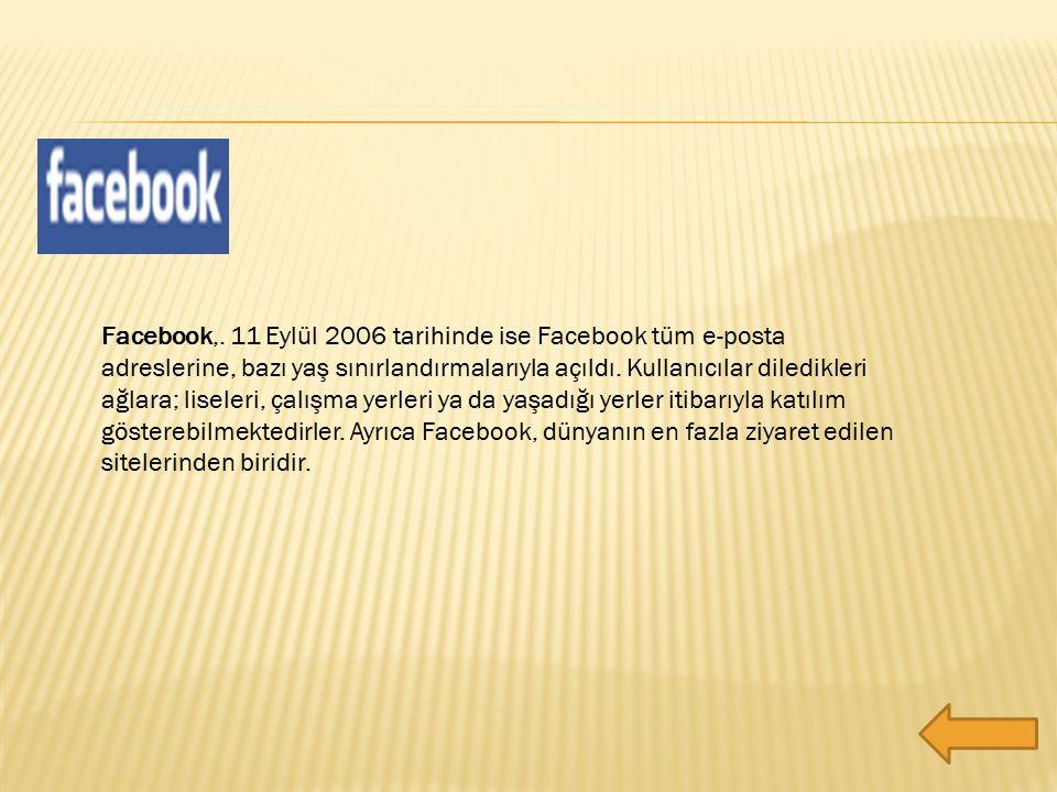 Facebook,. 11 Eylül 2006 tarihinde ise Facebook tüm e-posta adreslerine, bazı yaş sınırlandırmalarıyla açıldı. Kullanıcılar diledikleri ağlara; lisele