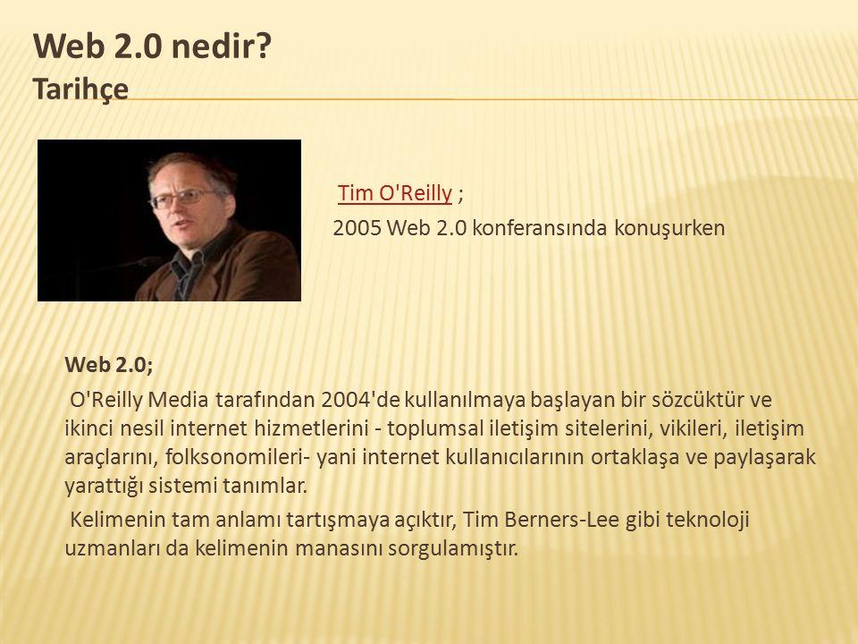 Web 2.0 nedir? Tarihçe Tim O'Reilly ;Tim O'Reilly 2005 Web 2.0 konferansında konuşurken Web 2.0; O'Reilly Media tarafından 2004'de kullanılmaya başlay